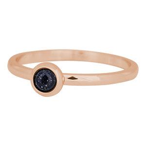 iXXXi Ring 2mm Edelstaal Rose Goudkleurig Natuursteen Dark Blue