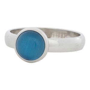 iXXXi Ring 4mm Edelstaal Zilverkleurig 10mm Cateye Blue