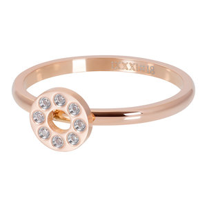iXXXi Ring 2mm Flat Circles Crystal Stone Rose Goudkleurig