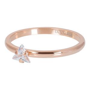 iXXXi Ring 2mm Triangle Crystal Stone Rose Goudkleurig