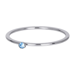 iXXXi Ring 1mm Zilverkleurig Zirkonia 1 Stone Light Saphire Crystal