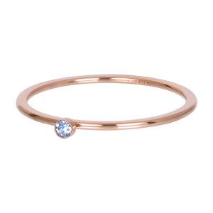 iXXXi Ring 1mm Rose Goudkleurig Zirkonia 1 Stone Light Saphire Crystal