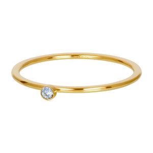 iXXXi Ring 1mm Goudkleurig Zirkonia 1 Stone Light Saphire Crystal