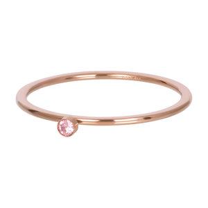 iXXXi Ring 1mm Rose Goudkleurig Zirkonia 1 Stone Pink Crystal