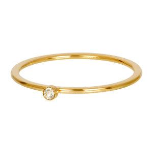 iXXXi Ring 1mm Goudkleurig Zirkonia 1 Stone Blond Flare Crystal