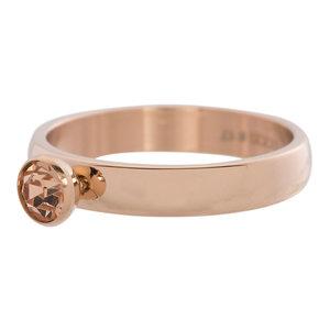 iXXXi Ring 4mm Edelstaal Rose Goudkleurig Diamant Zirkonia Champagne
