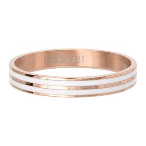 iXXXi Ring 4mm Rose Goudkleurig Double Line White