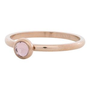 iXXXi Ring 2mm Edelstaal Rose Goudkleurig Natuursteen Pink