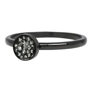 iXXXi Ring 2mm Edelstaal Cup Stones Zwart