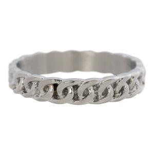 iXXXi Ring 4mm Edelstaal Curb Chain Zilverkleurig