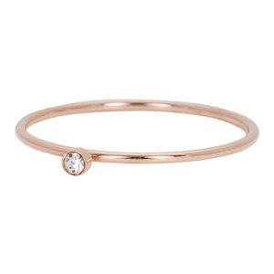 iXXXi Ring 1mm Rose Goudkleurig Zirkonia 1 Stone Crystal