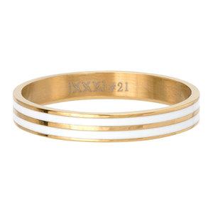 iXXXi Ring 4mm Goudkleurig Double Line White